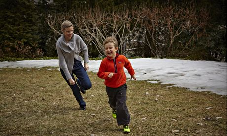 Anne Morriss and her son Alec, six, who is now as healthy as any child, pictured at their home in Cambridge, Massachusetts. Photograph: Steve Schofield for the Observer