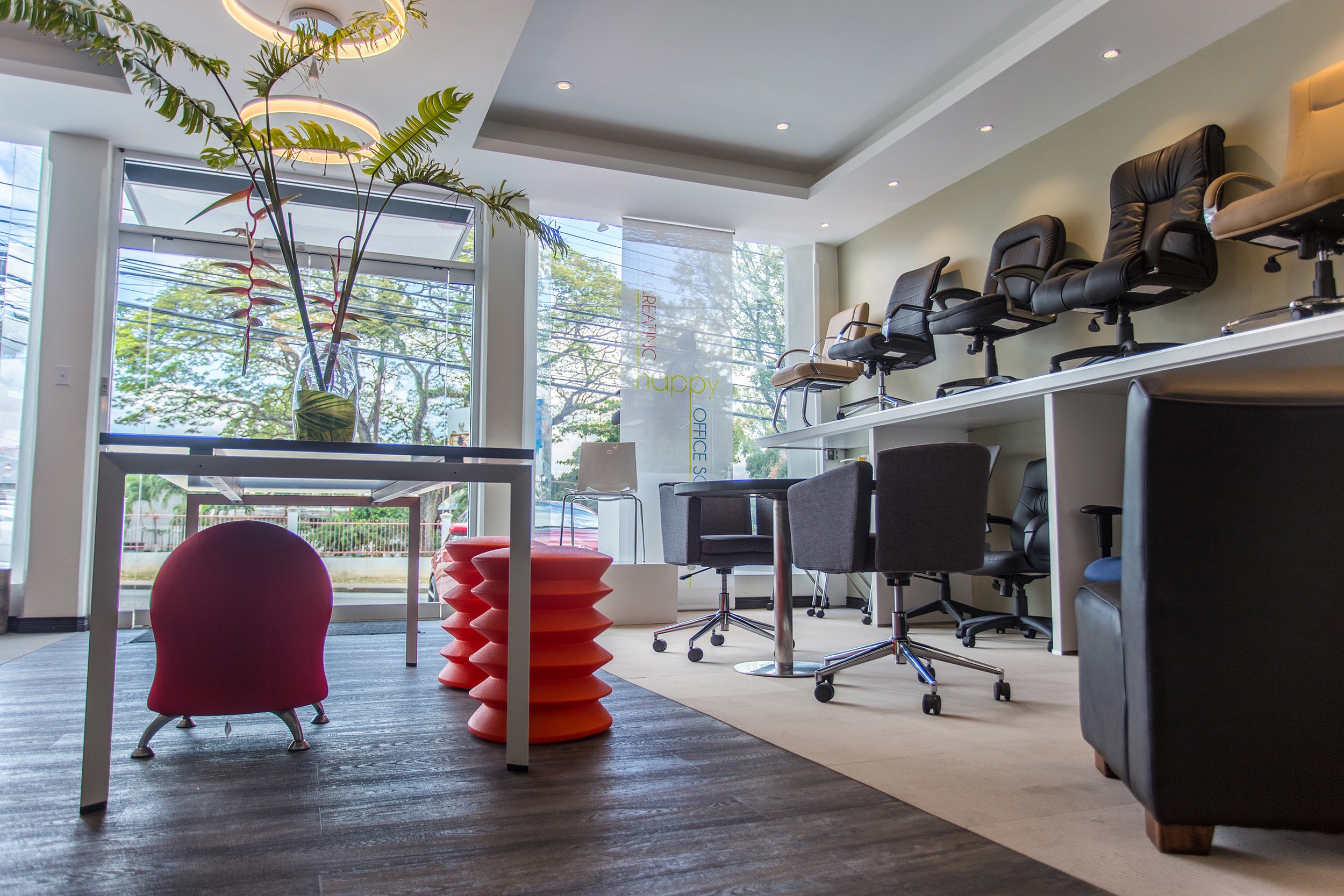 The new Galt & Littlepage showroom at Long Circular Road in St. James boasts a line of contemporary office furniture known as Inscape. Marketing Director Stuart Hart believes Inscape products will prove to be a hit with younger employees looking for trendier, more relaxed workplaces.