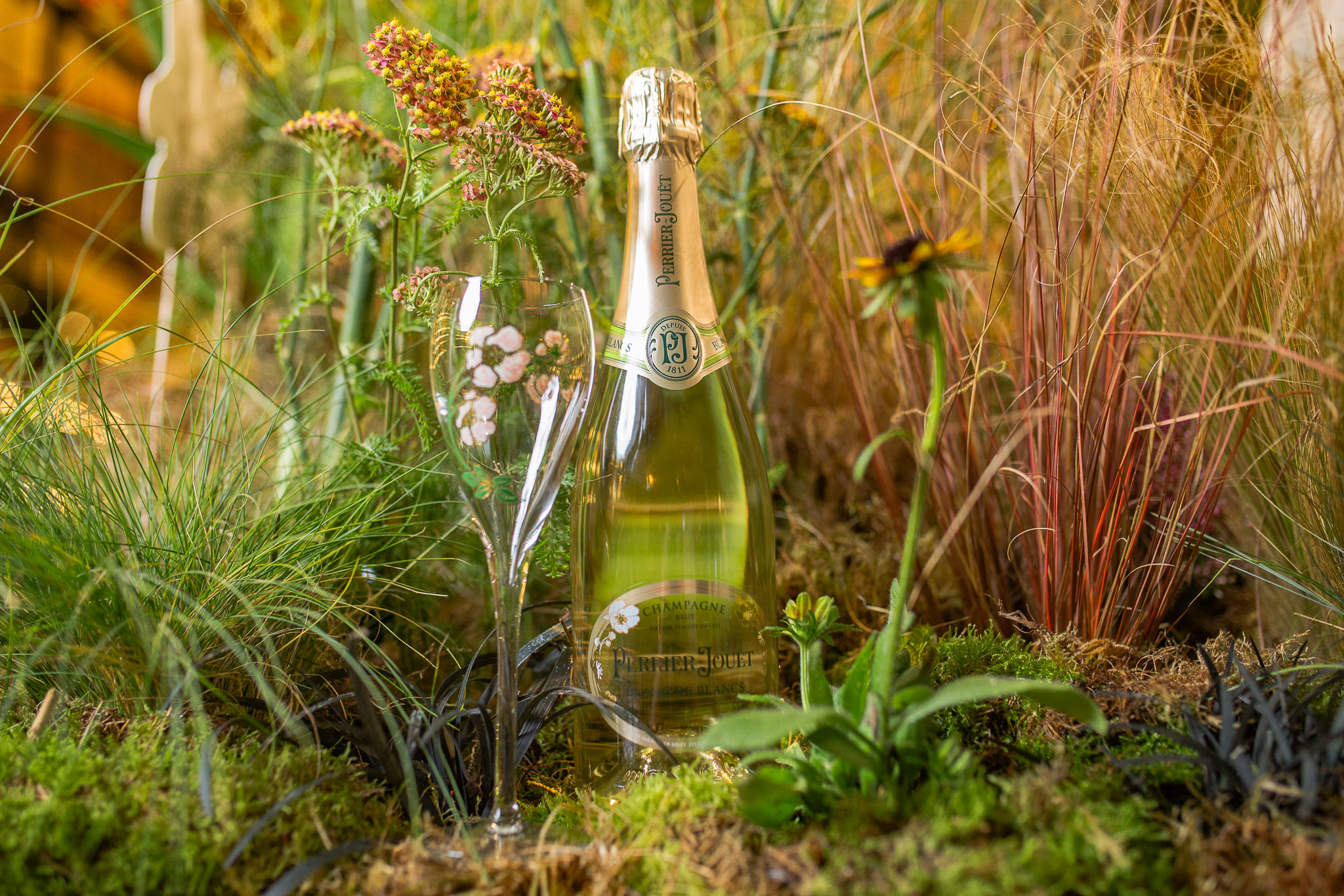 Foraging for Perrier-Jouët champagne.