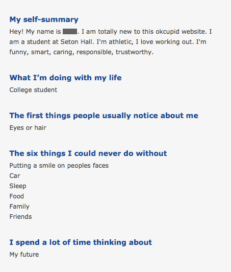 Example profile for a dating website