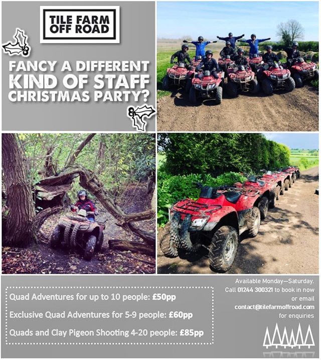 "I know it's only October but... if you're in charge of the Christmas staff do this year get booked in early to avoid disappointment!! Don't forget that we can link in with our friends @aimfortheskyuk to offer the very popular ""Quads and Clays"" activity which gives you the opportunity to have a go at Quad Biking and Clay Pigeon shooting all in the same day! It's a perfect way to celebrate the upcoming festive season with your favourite colleagues!  Check out the link in our bio to enquire now through our website or call us on 01244 300321 for more information.  #quadbiking #claypigeonshooting #christmas #christmasparty #staffdo #staffchristmasparty #staff #workdo #corporateevent #party #quads #quadadventure #chester #cheshire #cheahirelife #xmas #xmasdo #group #colleagues #teamwork"