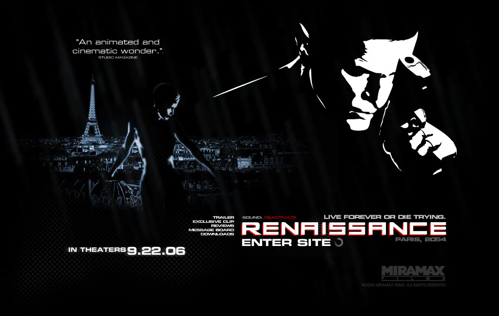 """Promotional site for the entirely rotoscoped sci-fi film """"Renaissance."""""""