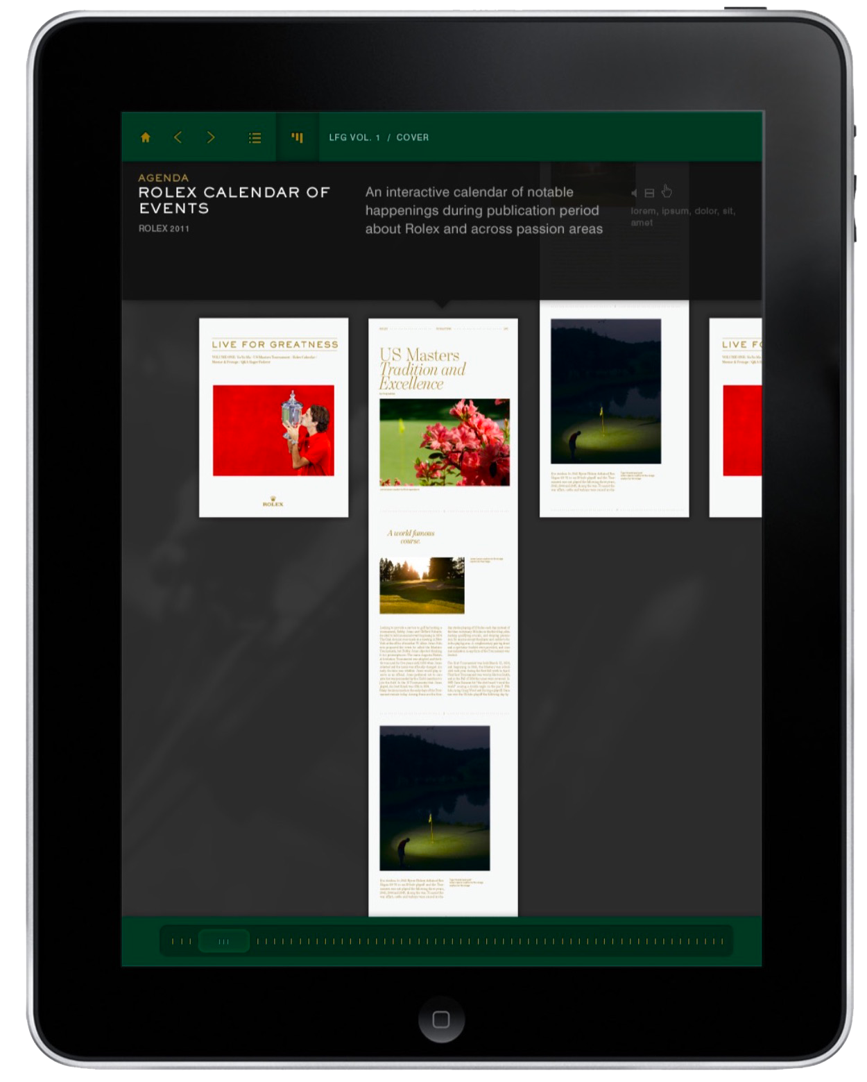 """A mockup of an iPad magazine for Rolex's campaign, """"Live For Greatness."""""""