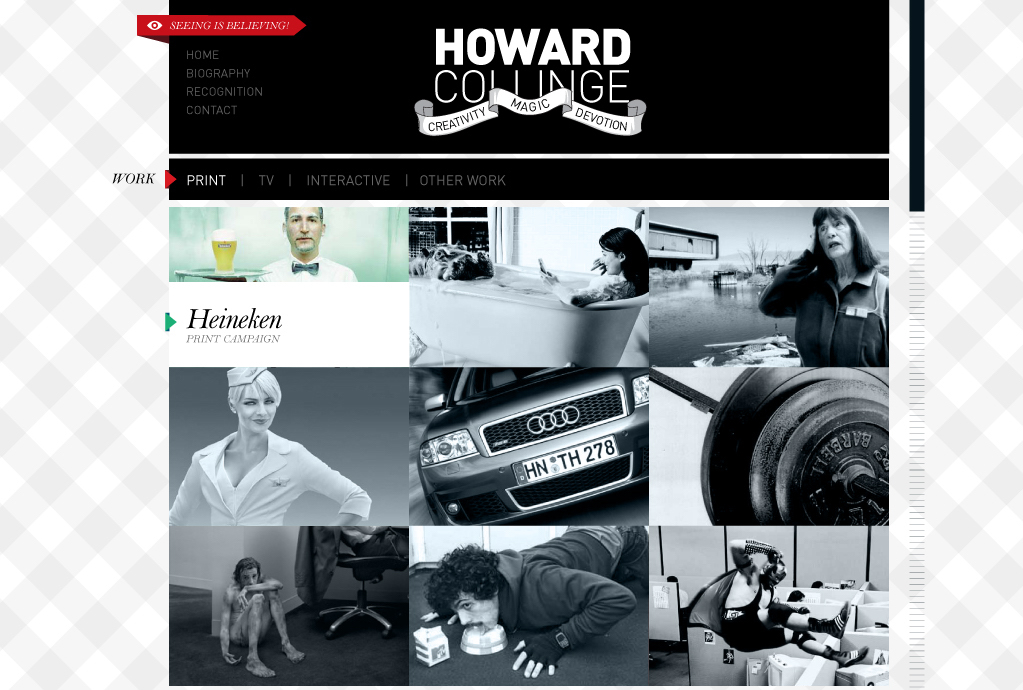 The portfolio of Howard Collinge, designed for and built in Flash, with a Wordpress backend.