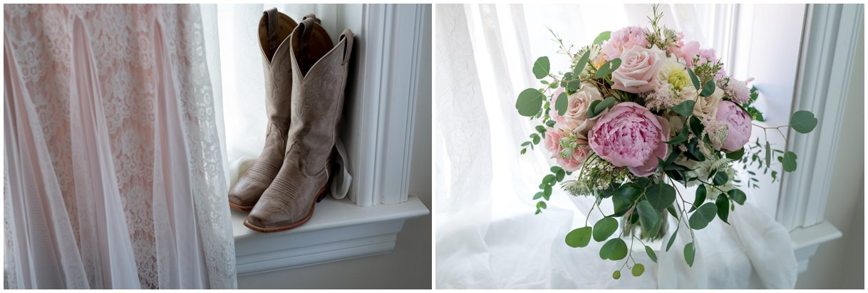 Floral details and boots from a Lancaster Summer farm wedding photos
