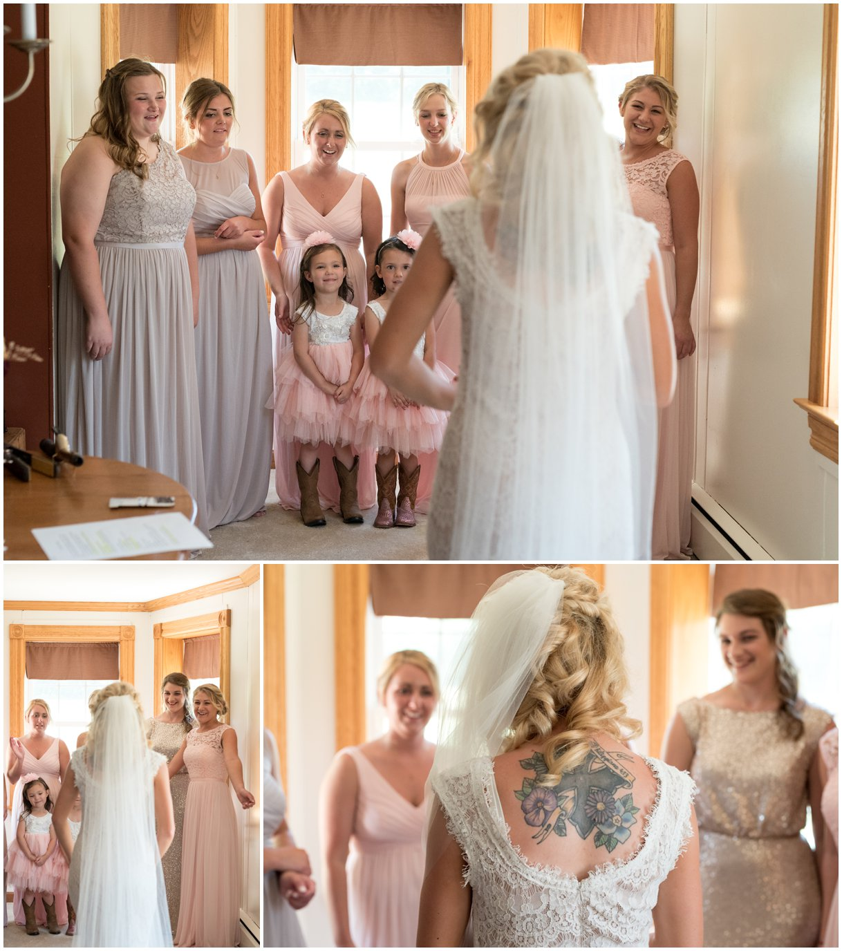 Bride reveals dress to bridesmaids in Lancaster PA summer wedding photo