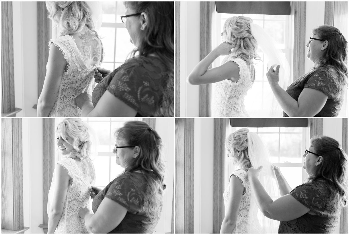 Mother and bride getting ready in black and white summer farm wedding in Lancaster Pa photo