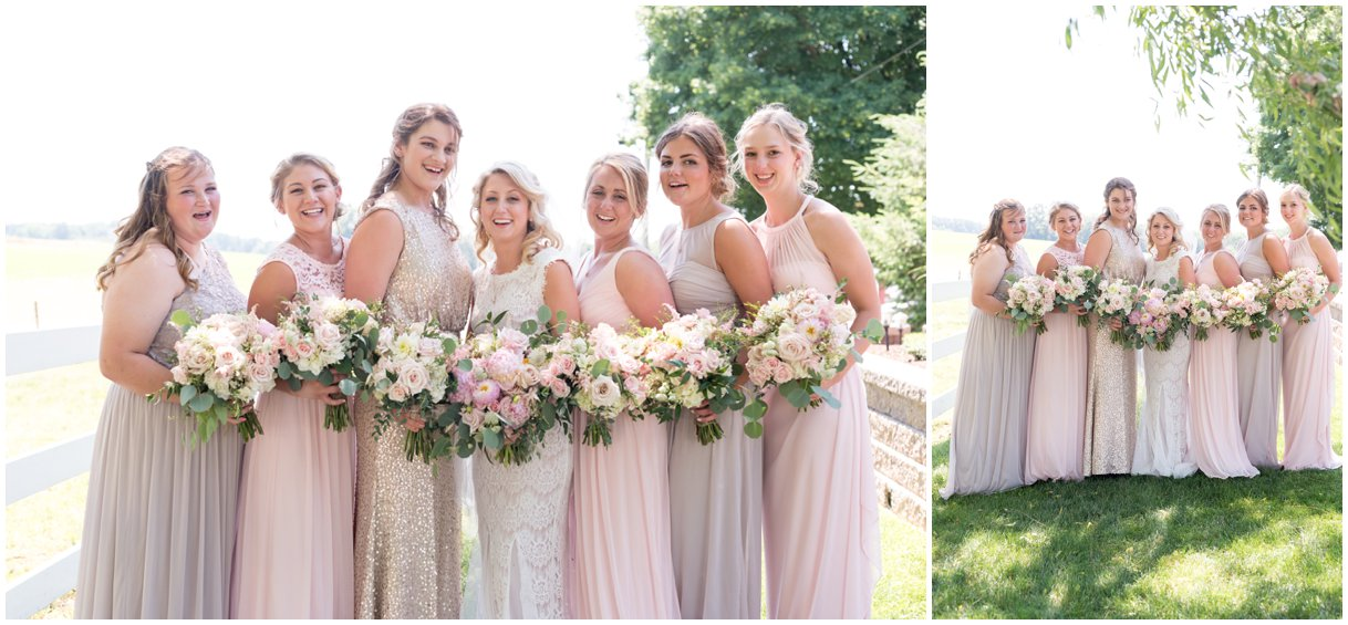 Bride and Bridesmaids in blush dressed at Lancaster PA farm wedding in summer photo
