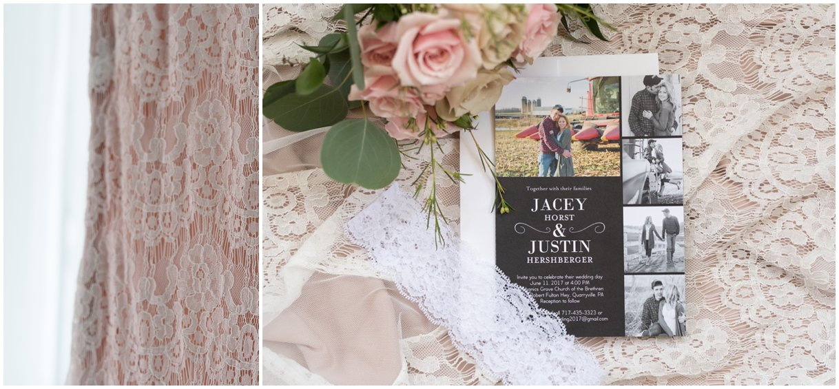 Lancaster farm wedding blush gown details with invitation photo