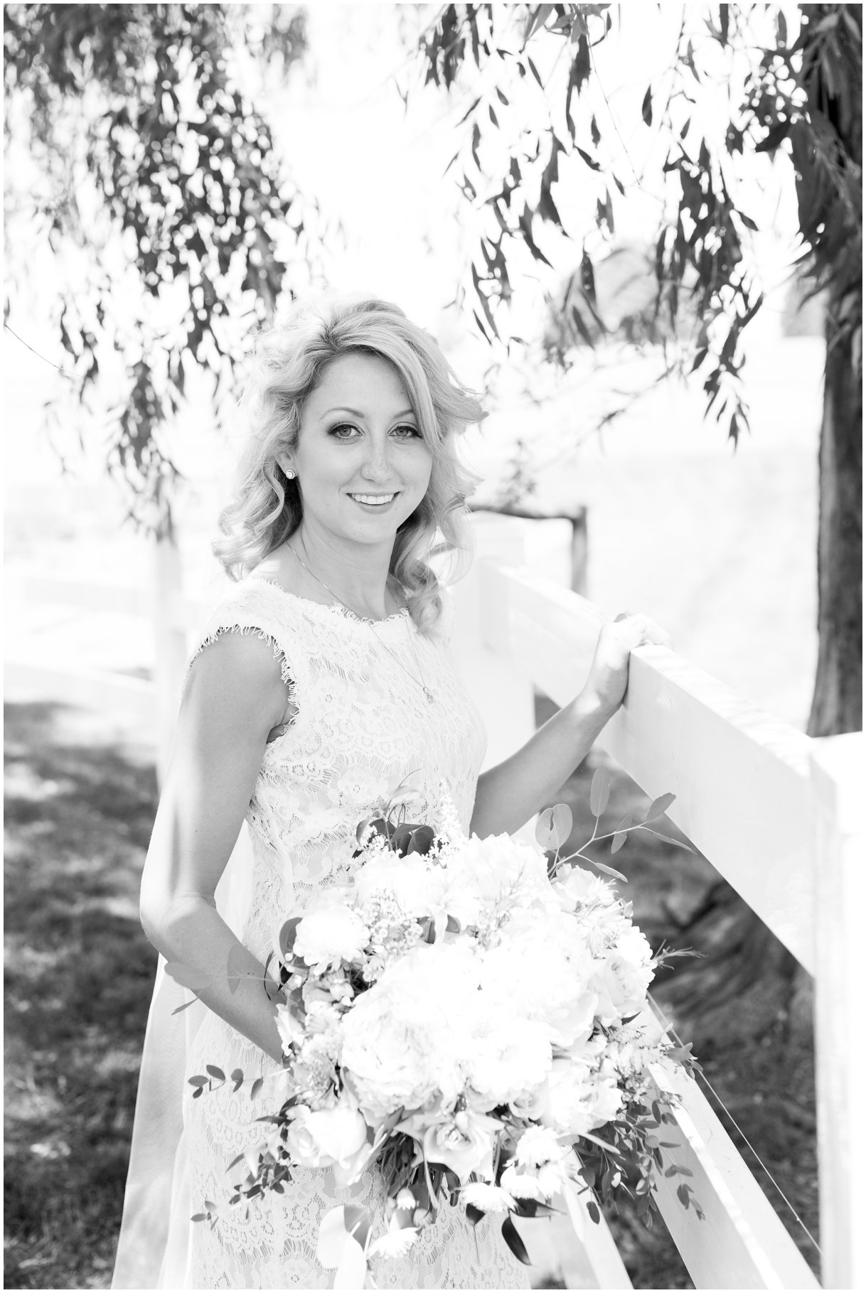 Black and white bridal portrait on Lancaster PA family farm outdoor wedding photo
