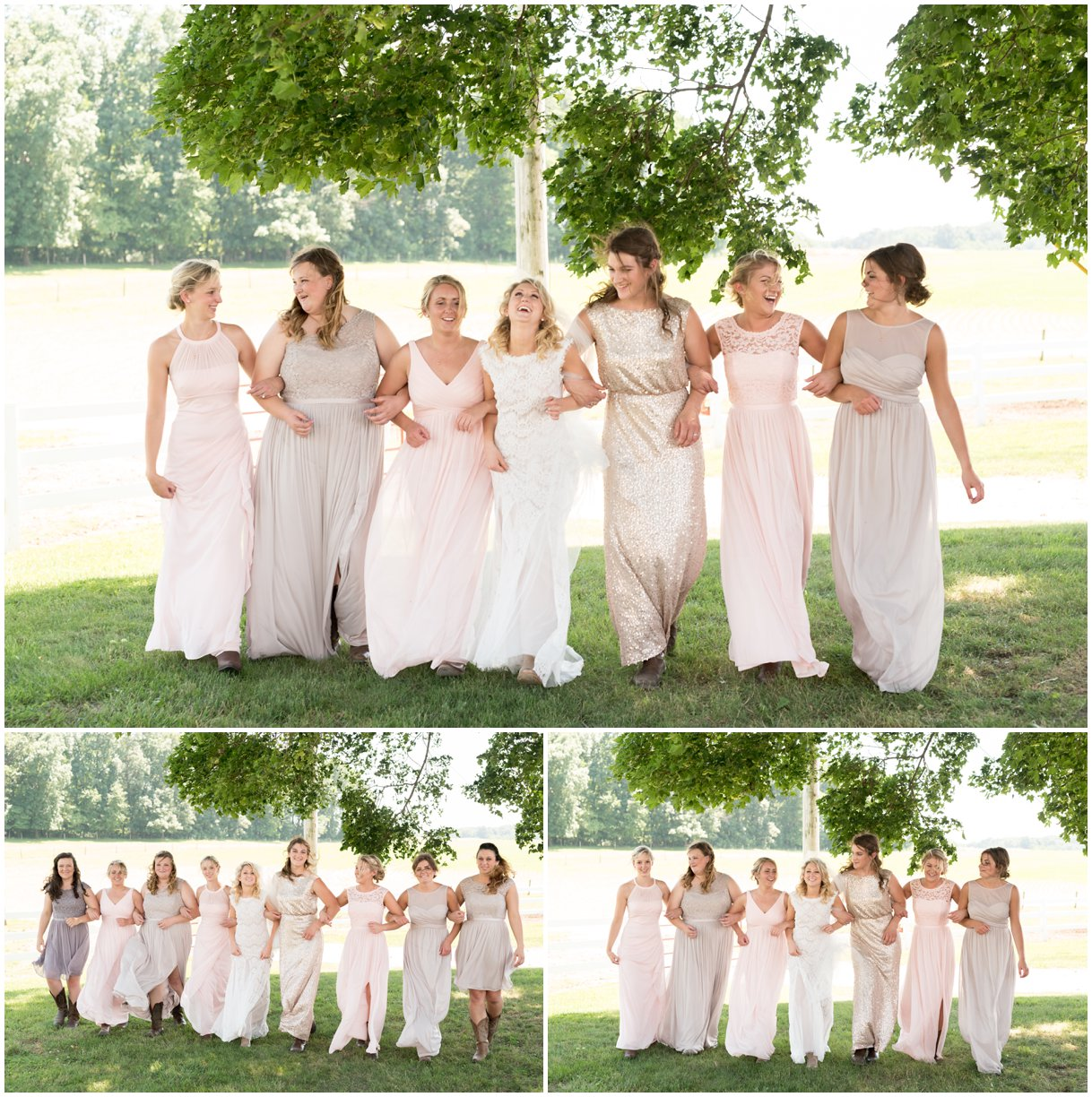 Bride and bridesmaids blush and grey dressed Lancaster pa family farm wedding photo