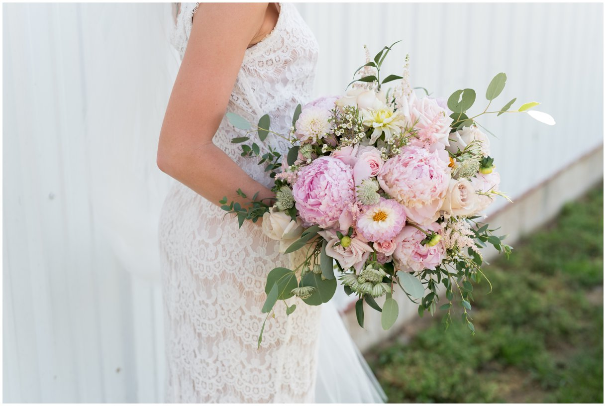 Bridal florals Lancaster PA farm wedding outdoor photo