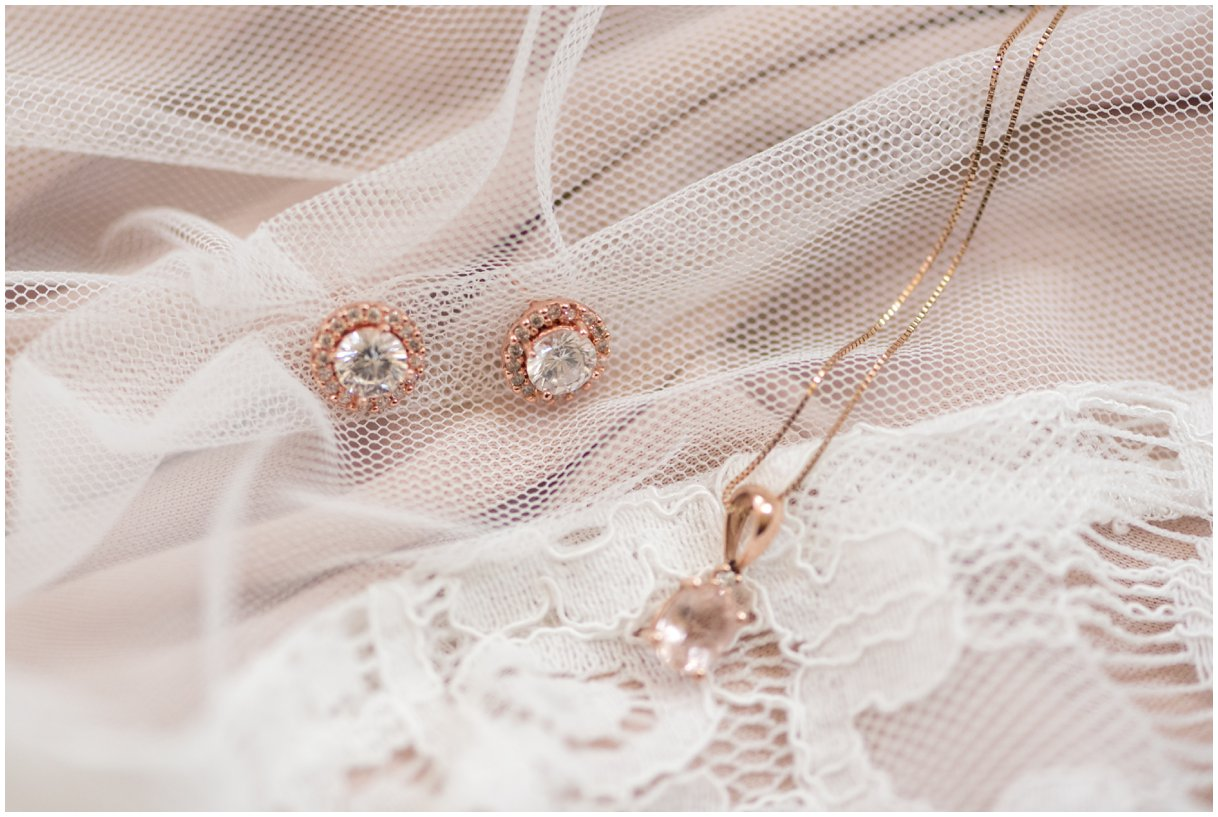 Bridal details jewelry rose gold Lancaster PA wedding farm outdoor photo