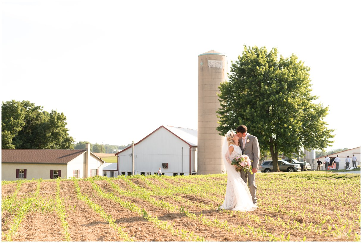 Bride and groom farm Lancaster PA outdoor wedding photo
