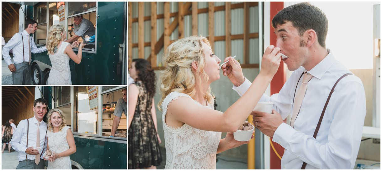 Ice cream truck at reception of Lancaster Pa farm wedding photo