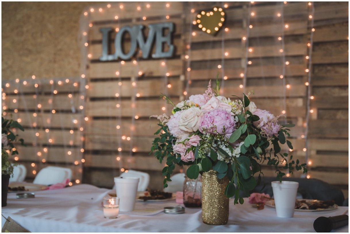 Reception detail Lancaster PA farm wedding photo