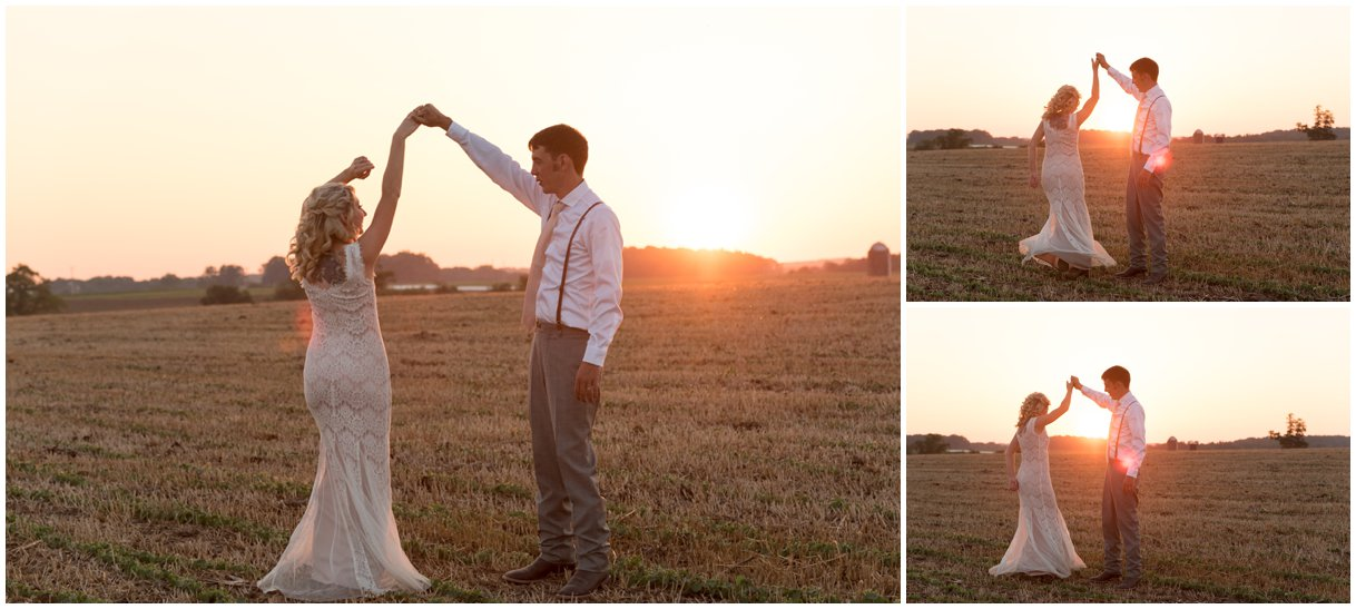 Bride and Groom at sunset Lancaster farm wedding photo