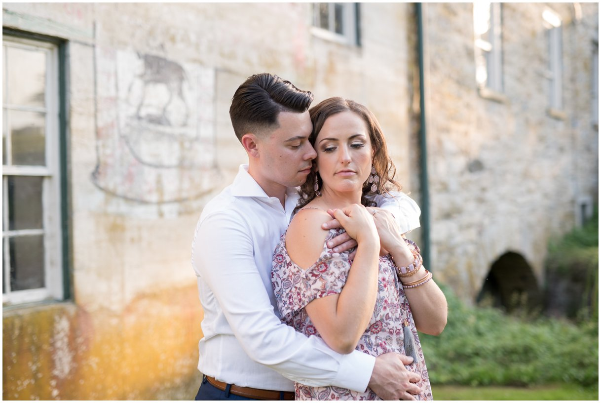 Lancaster engagement session by Mill at golden hour with willow trees photo