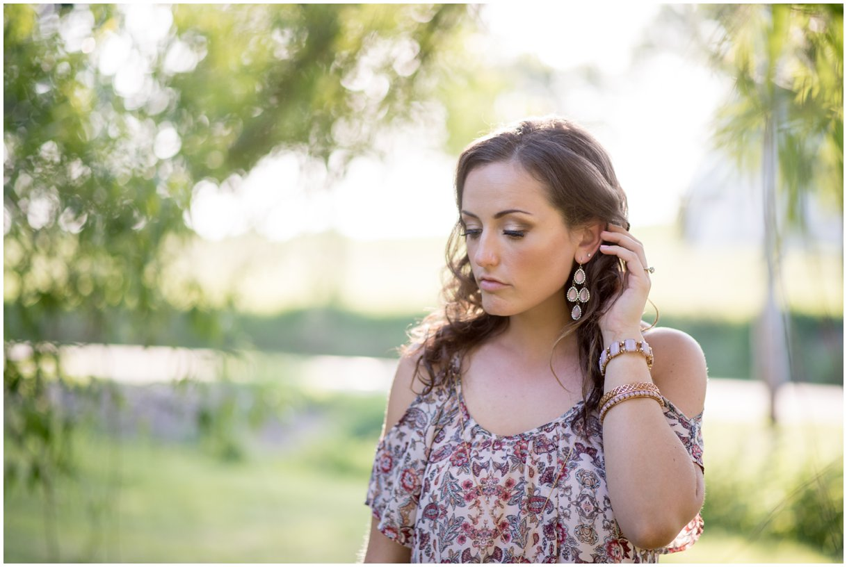 Lancaster PA engagement session at golden hour by mill and willow tree bridal detail photo