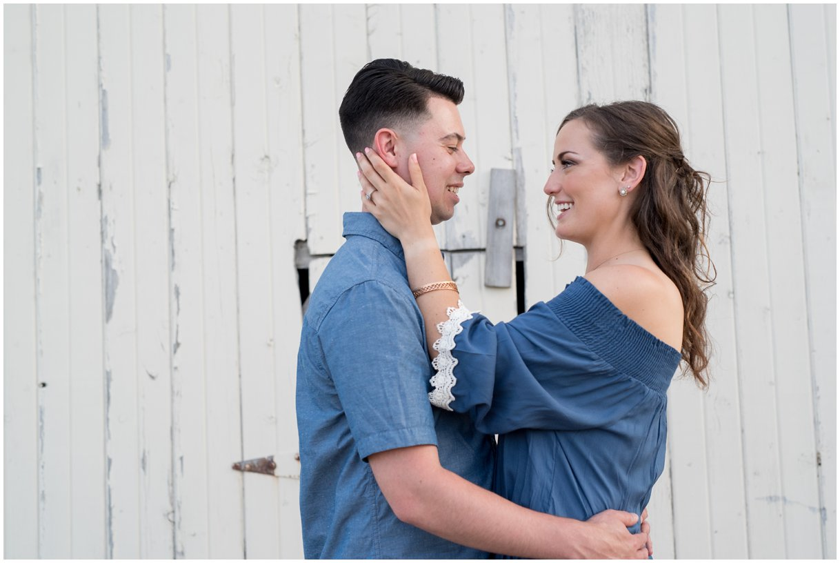 Lancaster Southview Farm engagement session white barn bride and groom portrait photo