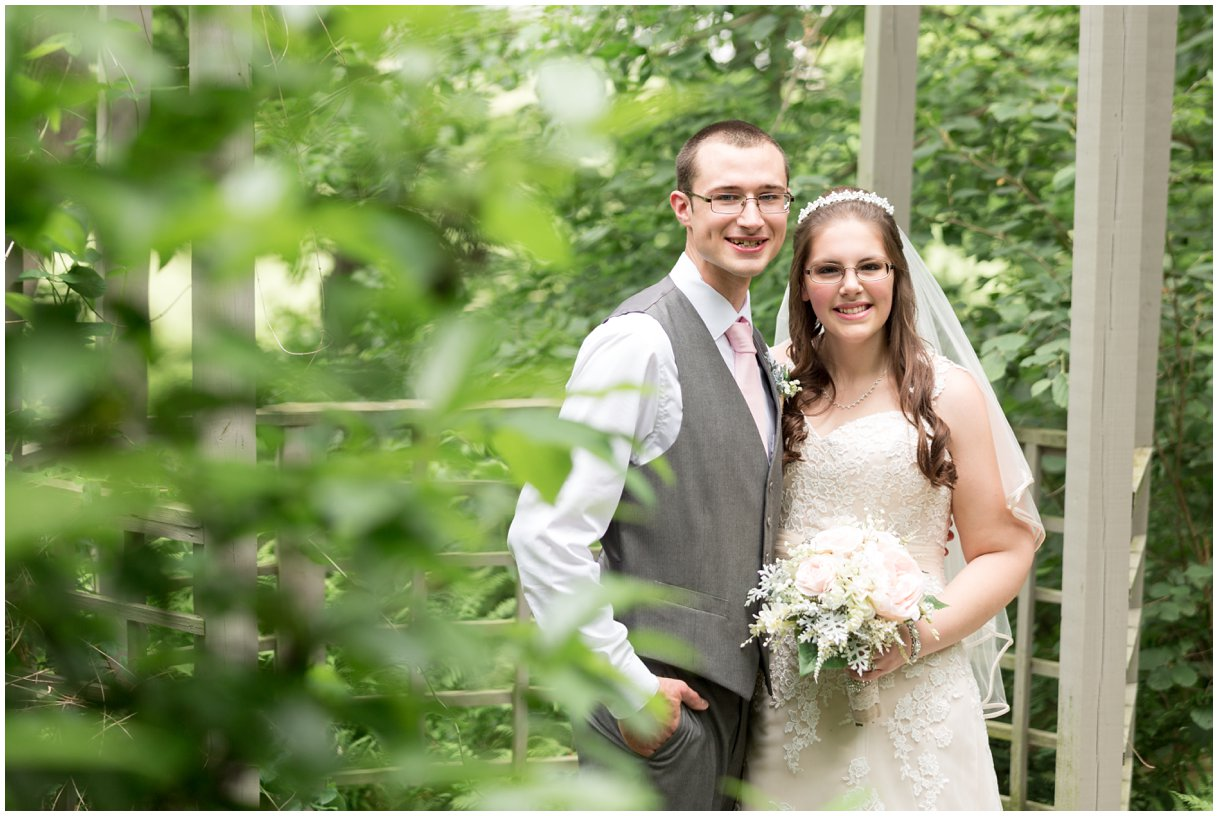 Pheasant Run Bed and Breakfast Lancaster PA outdoor wedding by waterfall bride and groom portrait photo