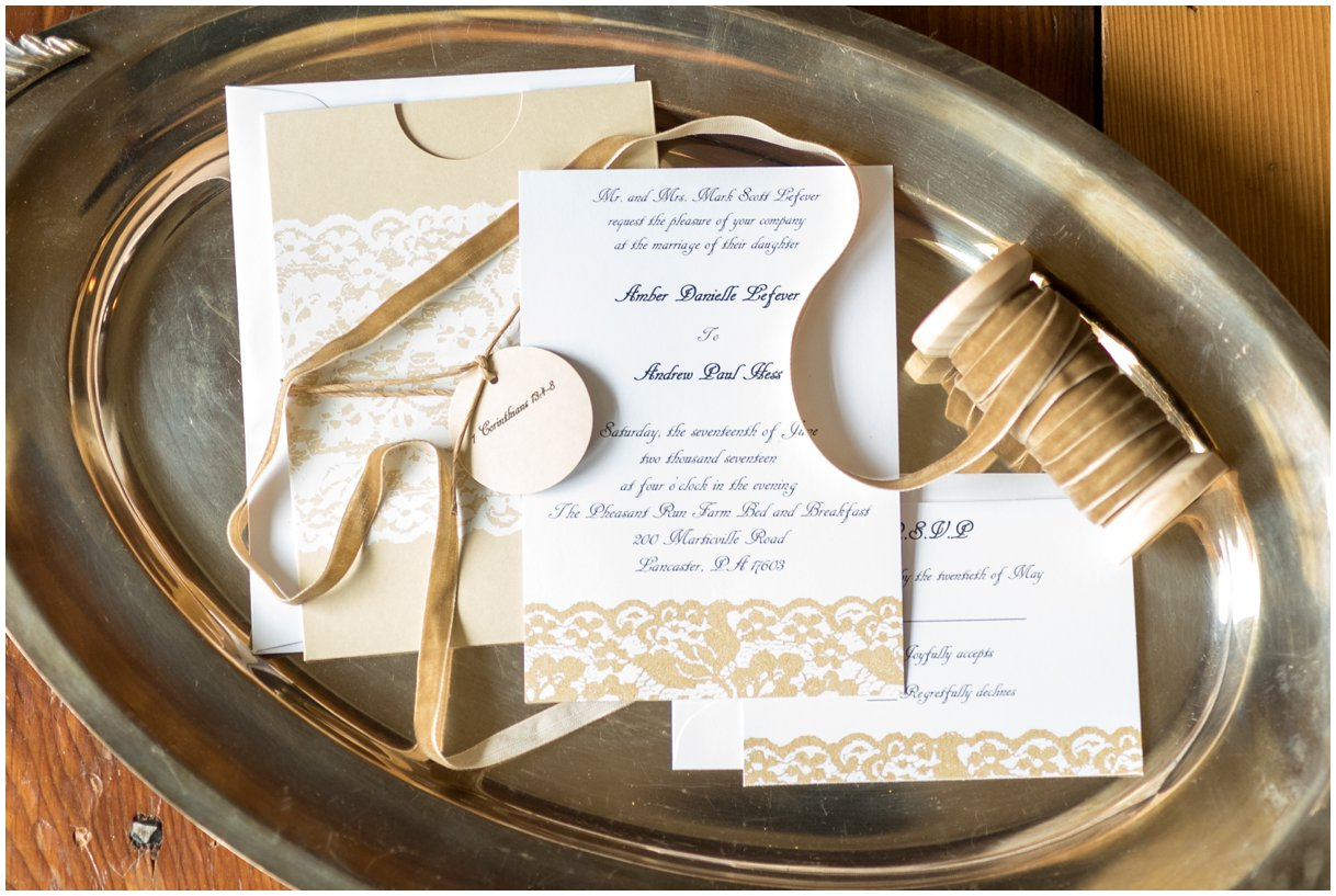 Dress details at Pheasant Run Bed and Breakfast Lancaster PA bridal invitation suite detail photo