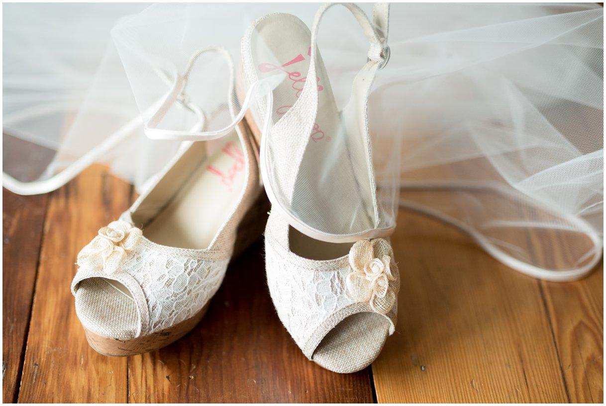 Dress details at Pheasant Run Bed and Breakfast Lancaster PA bridal shoe detail photo