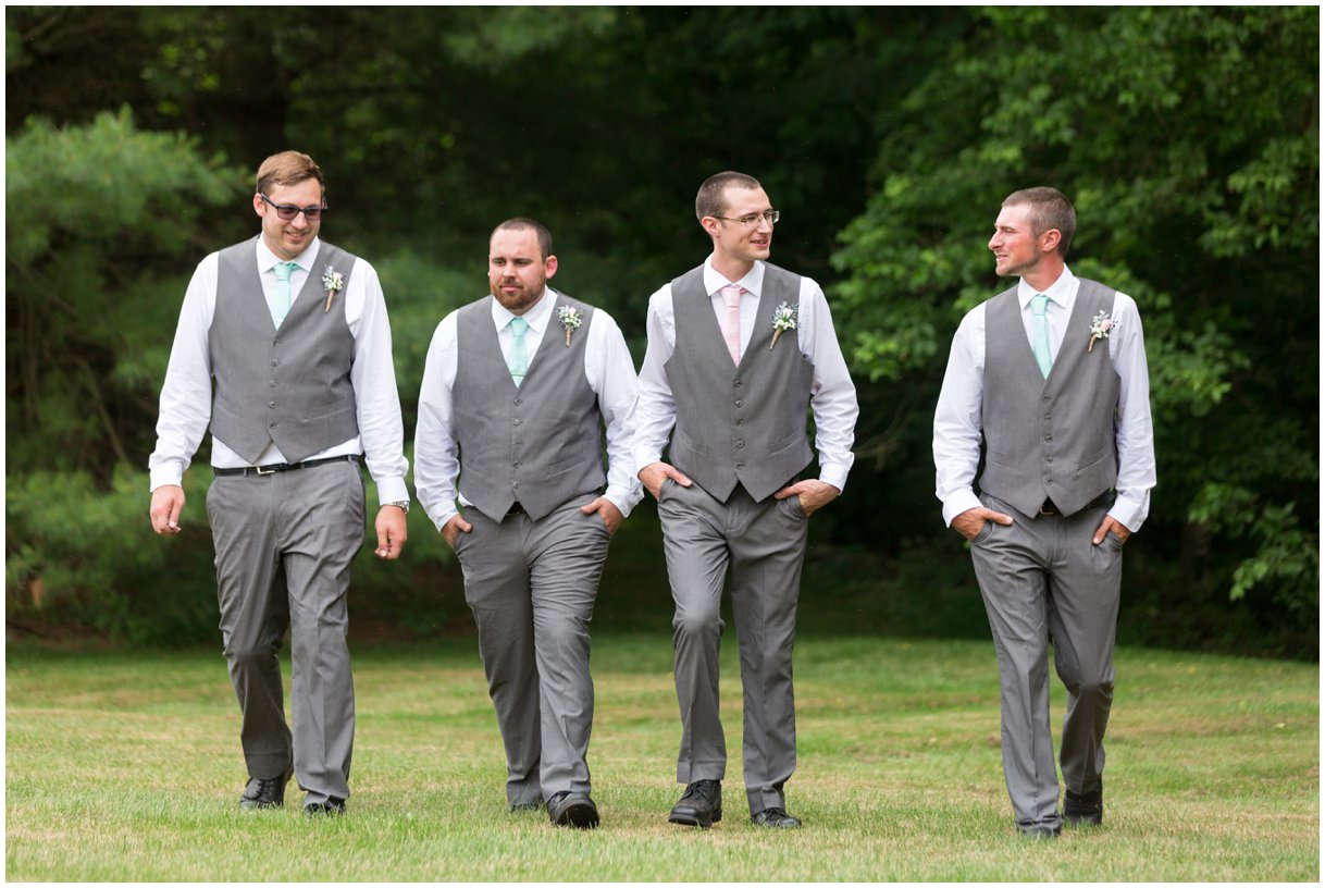 Groom and groomsmen at Pheasant Run Bed and Breakfast Lancaster PA on wedding day photo