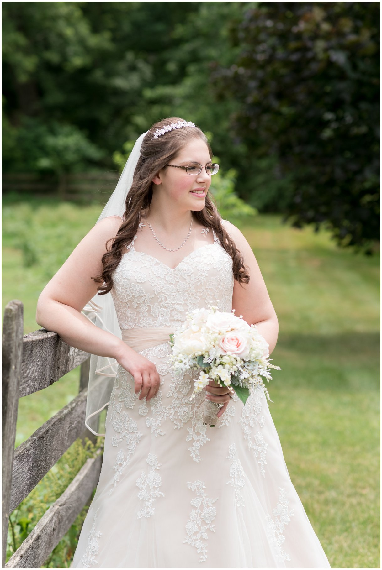 Bride black and white portrait at Pheasant Run Bed and Breakfast Lancaster PA on wedding day photo