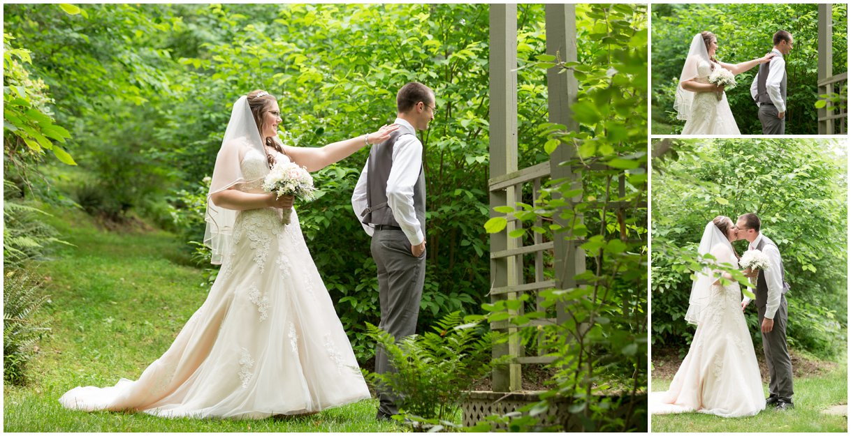 First Look of bride and groom at Pheasant Run Bed and Breakfast Lancaster PA on wedding day photo