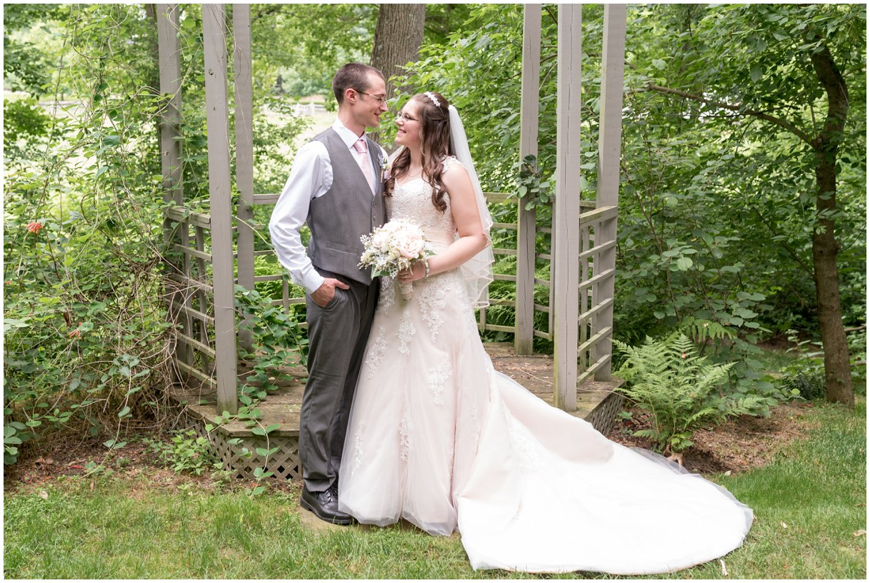 Bride and Groom portrait at Pheasant Run Bed and Breakfast Lancaster PA on wedding day photo