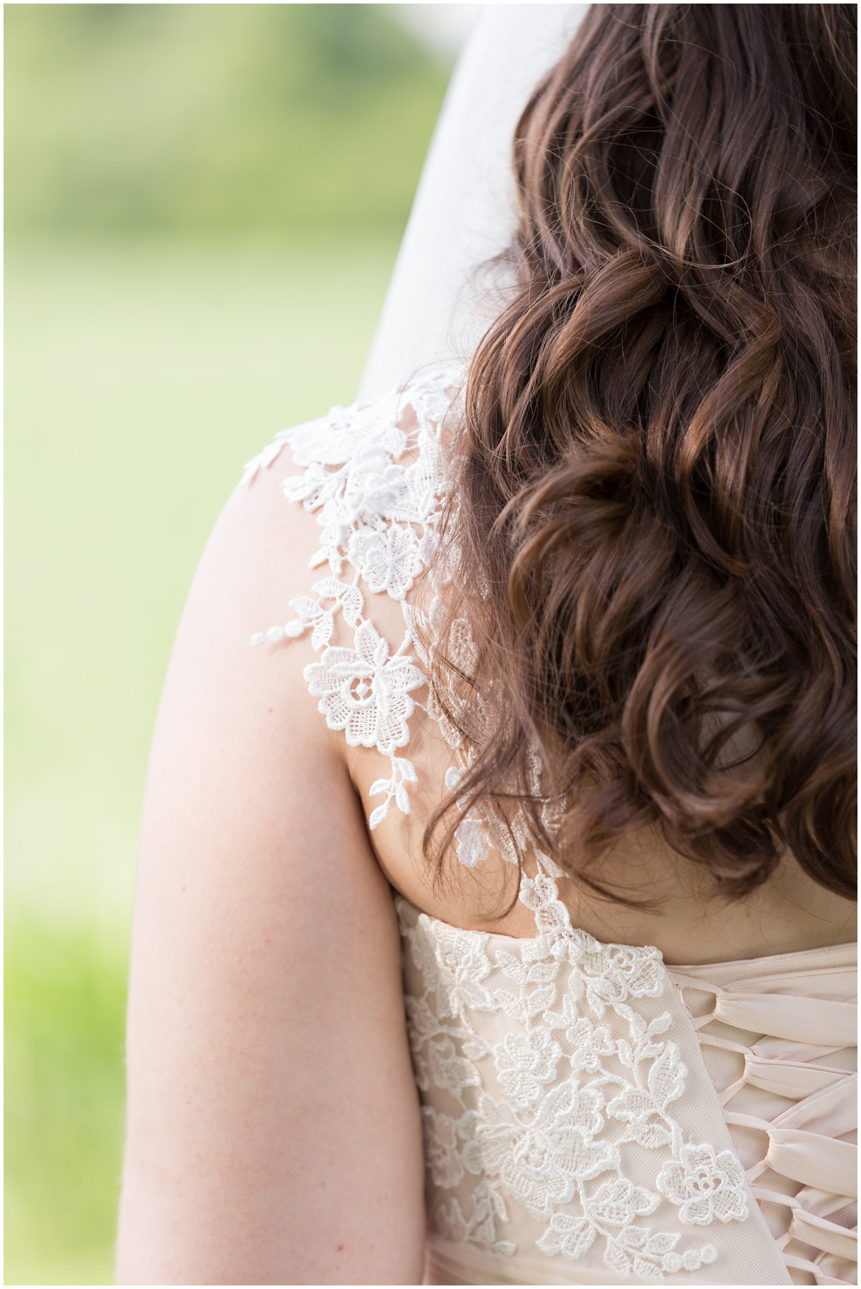 Bridal gown details at Pheasant Run Bed and Breakfast Lancaster PA on wedding day photo
