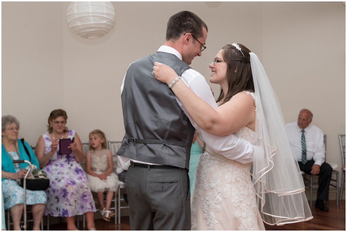 Bride and Groom first dance at reception at Pheasant Run Bed and Breakfast Lancaster PA on wedding day photo