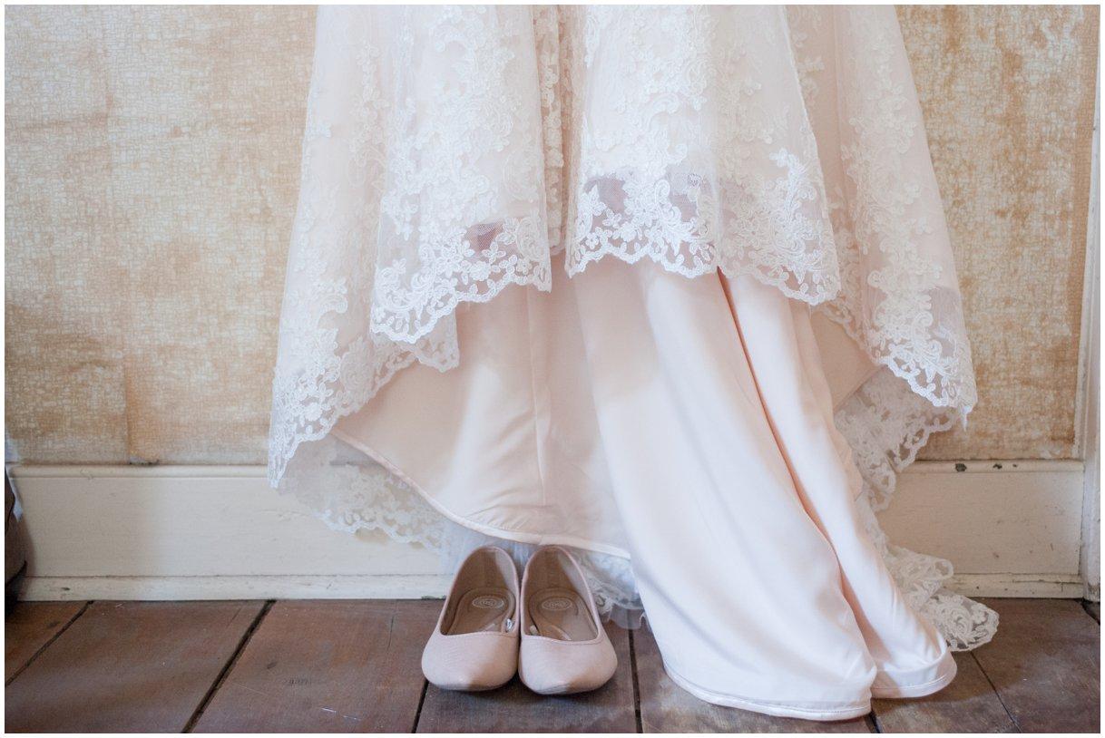 Strasburg farm wedding in Lancaster County wedding photographer bridal gown detail photo