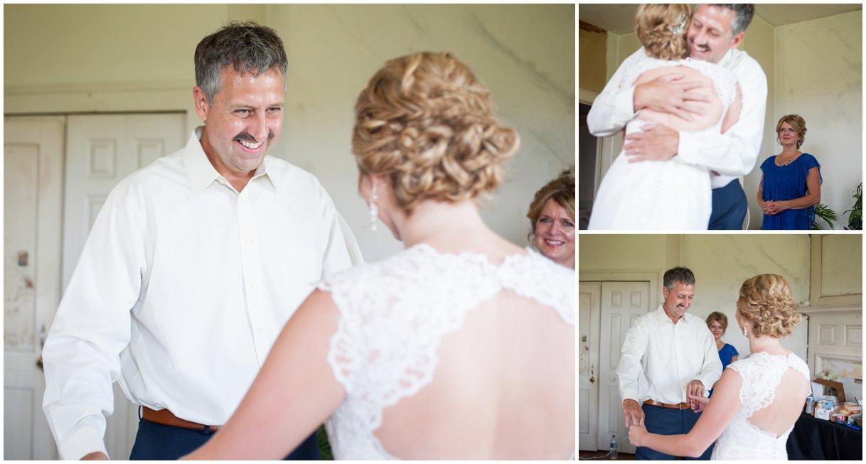 Strasburg farm wedding in Lancaster County wedding photographer bride and dad first look  photo