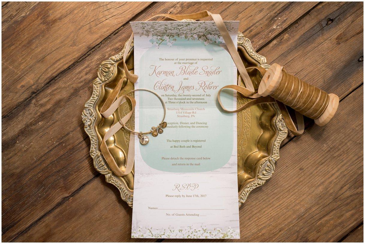 Strasburg farm wedding in Lancaster County wedding photographer invitation suite details  photo