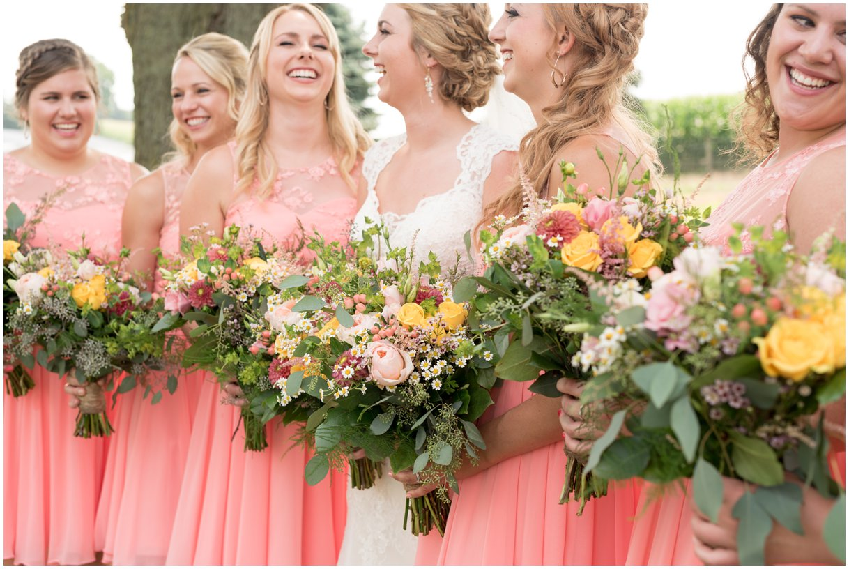 Strasburg farm wedding in Lancaster County wedding photographer bride and bridesmaids photo