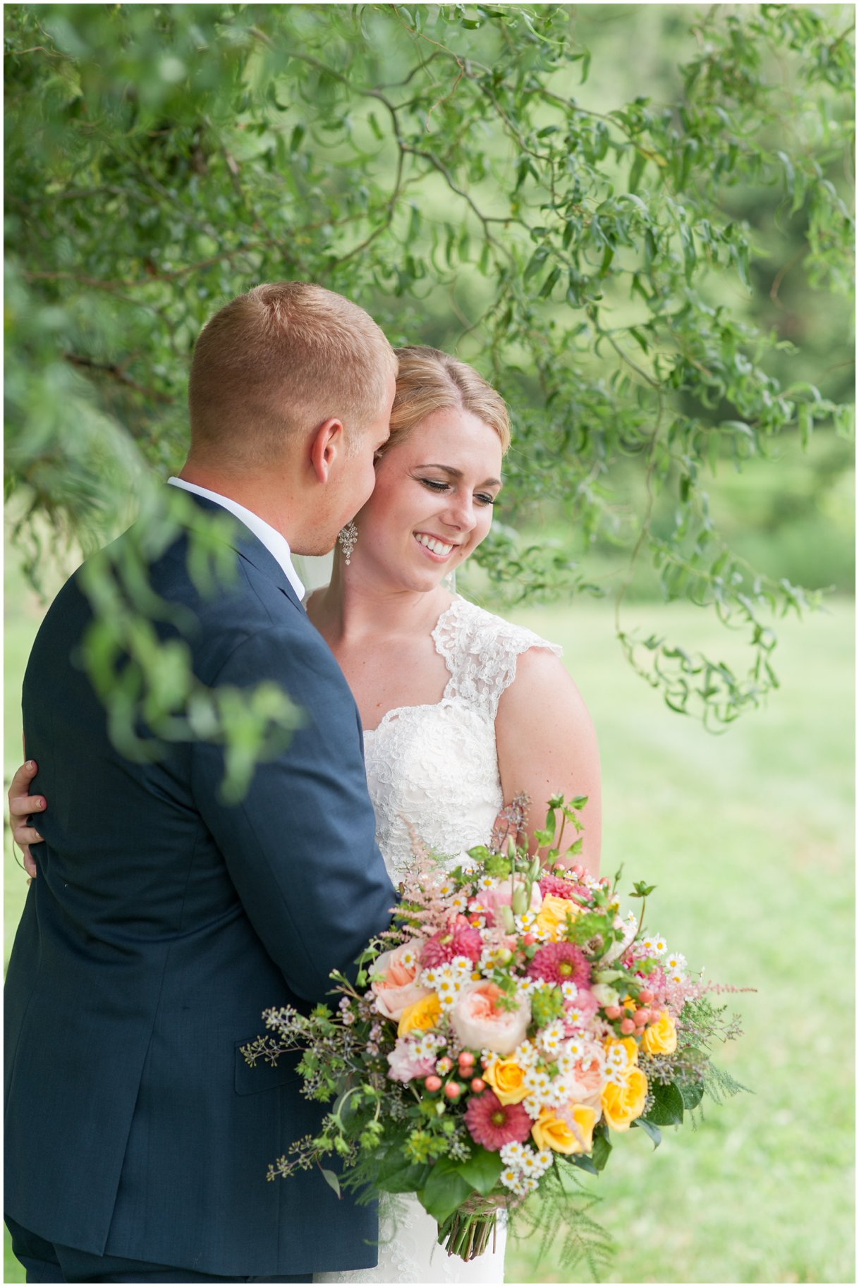 Bride and groom portraits Strasburg farm wedding in Lancaster County PA photo