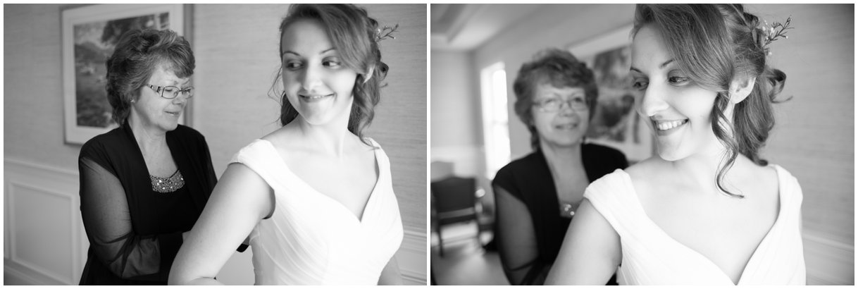 Black and White bride and mom getting into dress lancaster pa wedding photo
