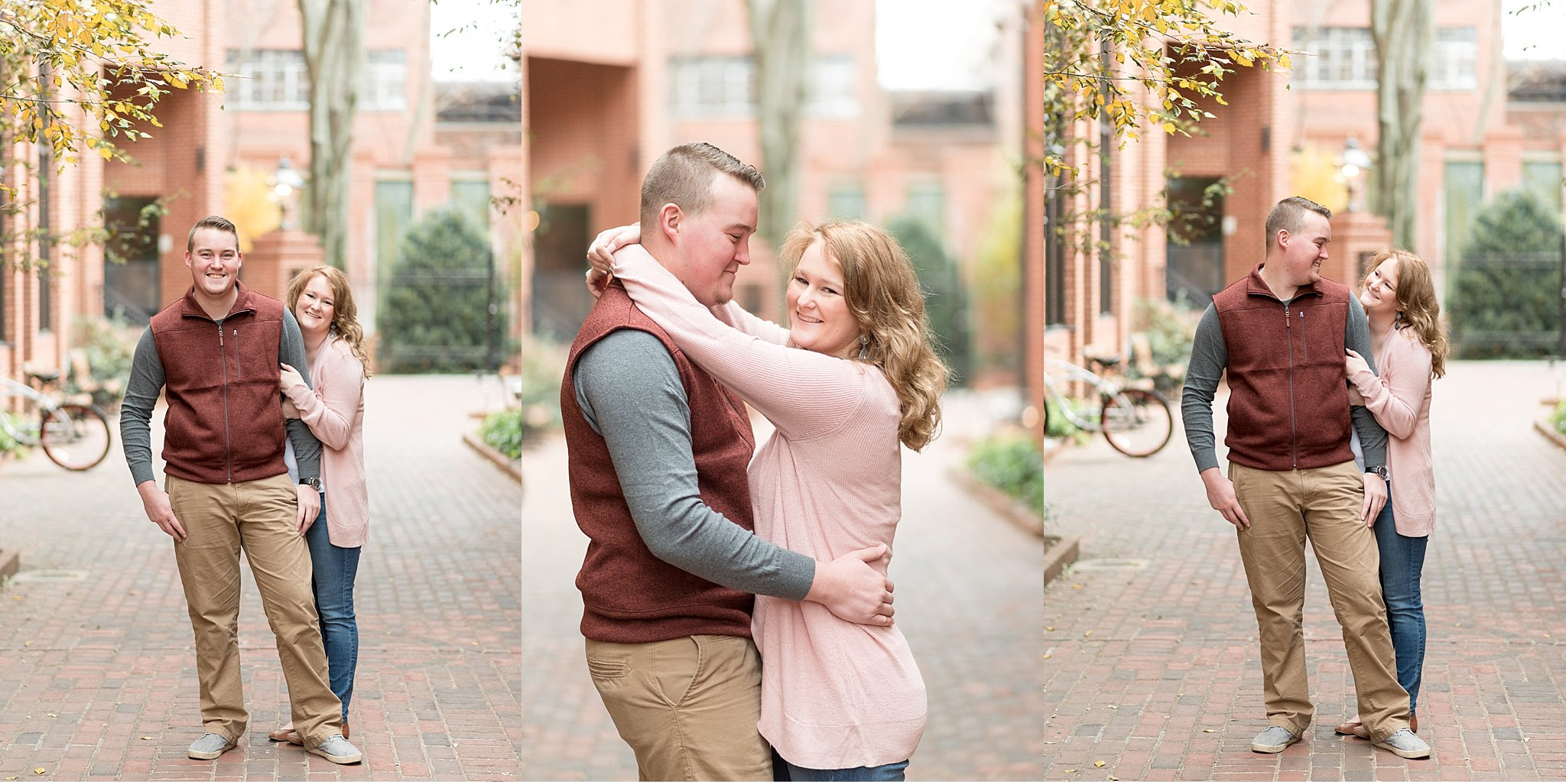 Bride and Groom walking Winter engagement session Lancaster City Wedding Photographer photo