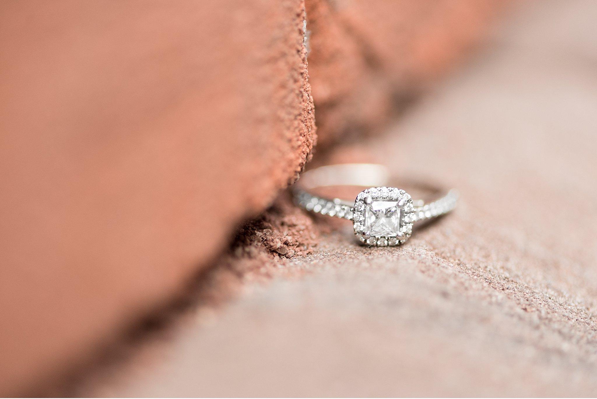 Diamond engagement ring detail shot Winter engagement session Lancaster City Wedding Photographer photo
