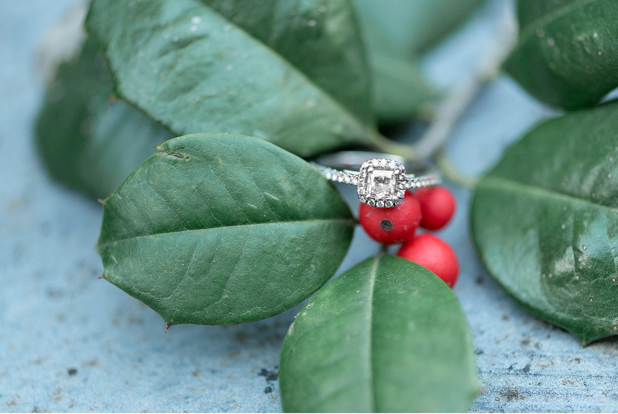 Diamond engagement rind detail Winter engagement session Lancaster City Wedding Photographer photo