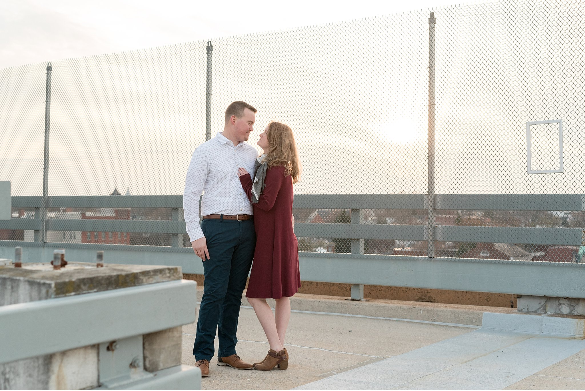 Roof top city view Winter engagement session Lancaster City Wedding Photographer photo