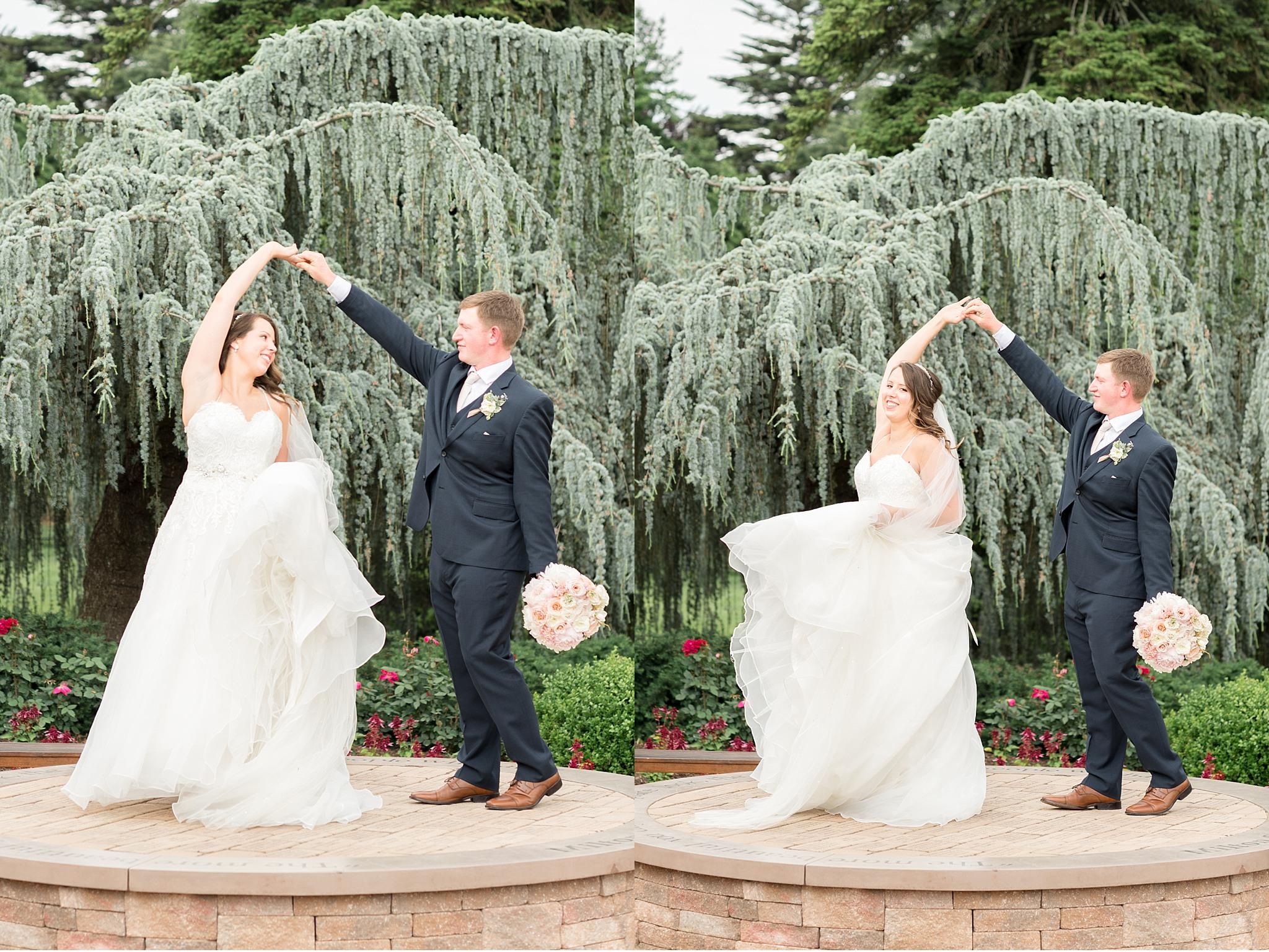 Bride and groom Twirling Hershey Gardens Hershey Country Club Summer beautiful wedding photography_1601.jpg