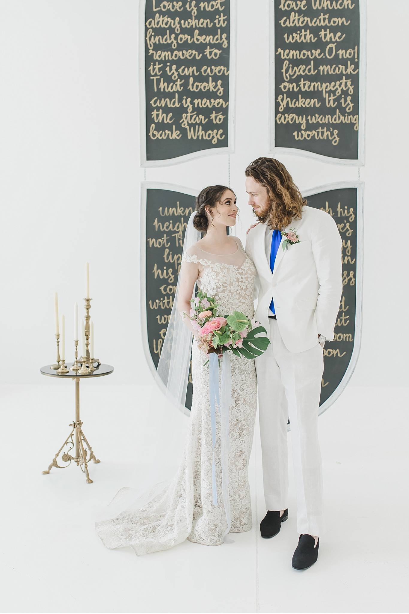 Bride and groom in front of Shakspeare wall  Light and Airy Styled Greek Wedding Supply Manheim PA Wedding photography photo_1863.jpg