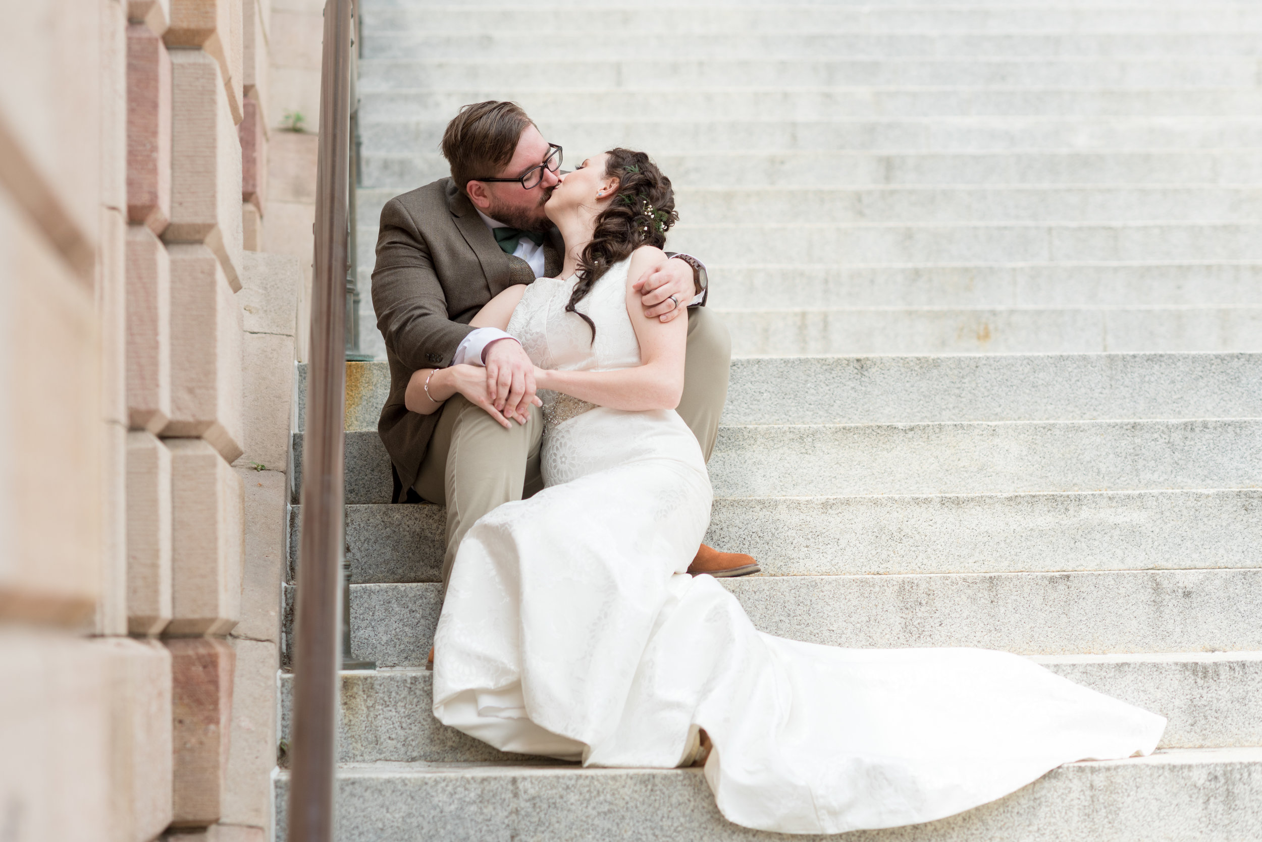 Bride and Groom Portrait Lancaster City Courthouse steps Wedding Photography