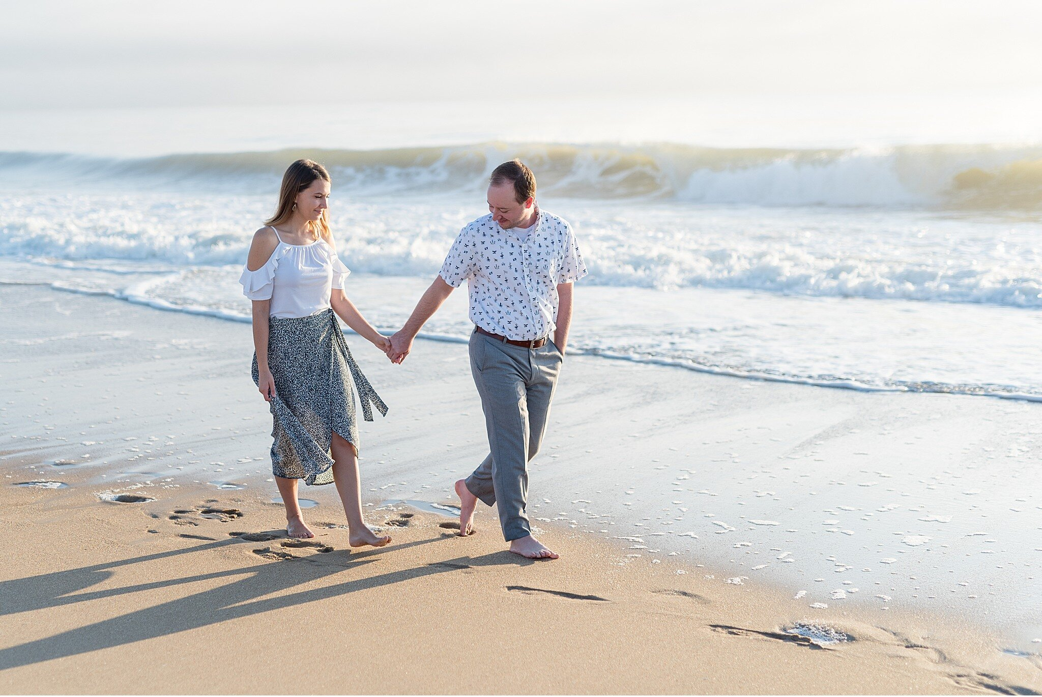 Rehoboth Beach Cape Henlopen sunrise summer engagement session photography