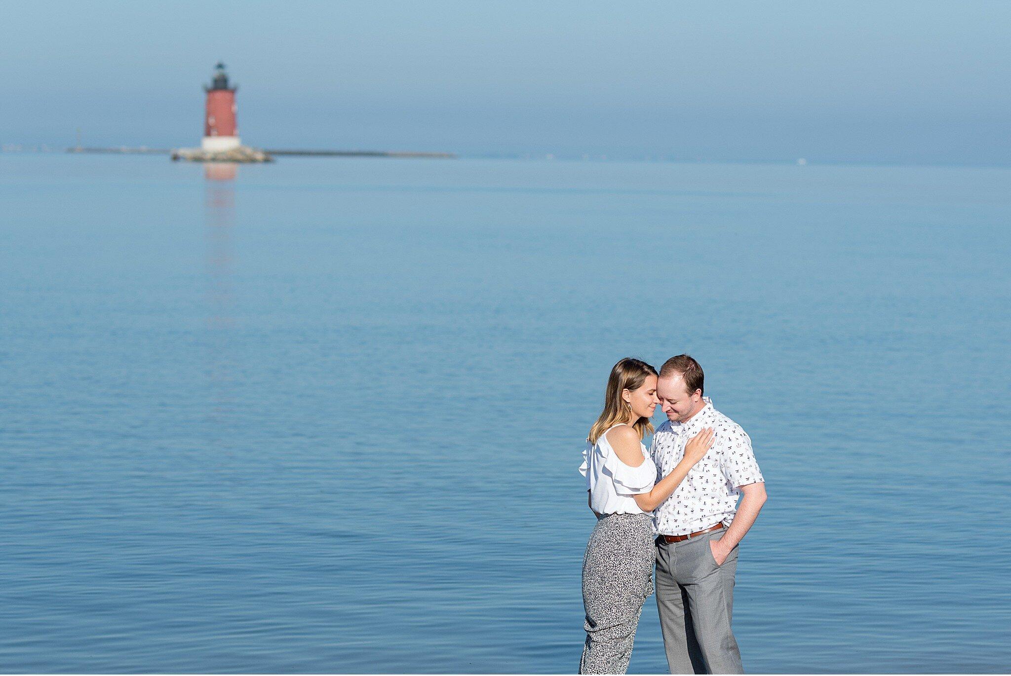 Cape Henlopen lighthouse engagement session sunrise photography