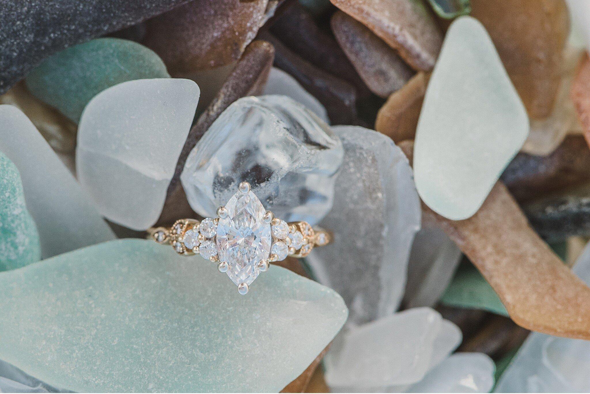 Cape Henlopen sea glass ring bling engagement session