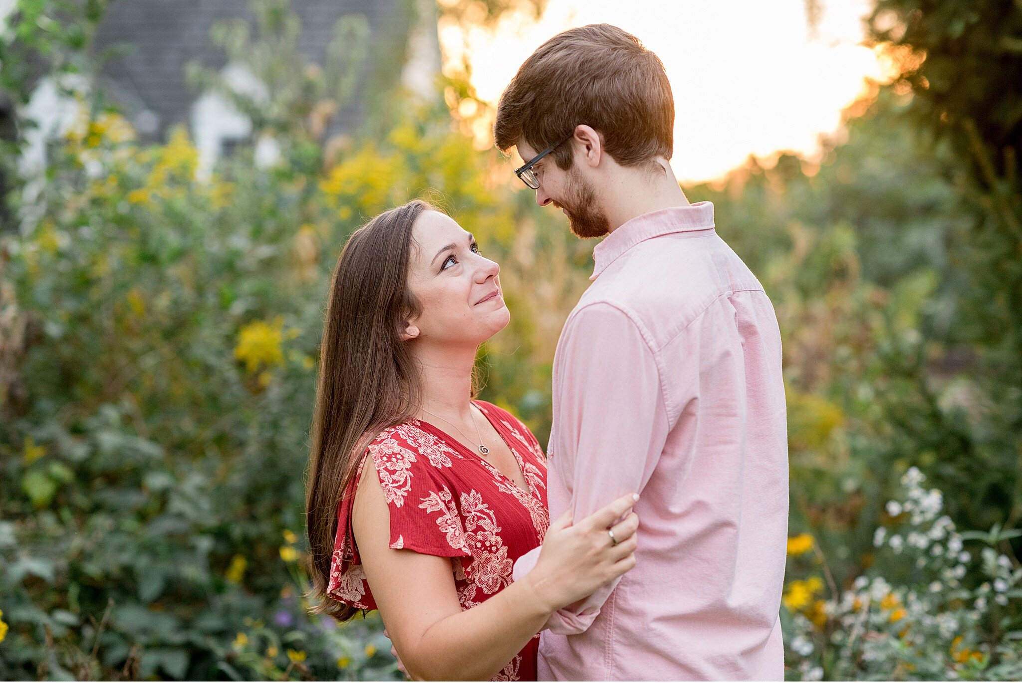 Lititz PA Fall floral golden sun engagement session photography